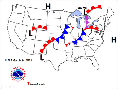 Stationary Front On A Weather Map.Storms And Weather The Storms Of March 23 27