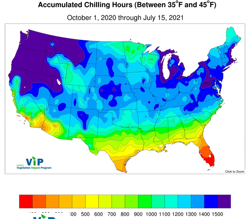 MRCC VIP FrostFreeze Chilling Hours Maps - Us frost line map