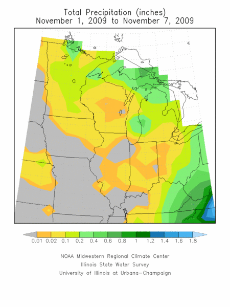 Total rainfall, November 1-7.  Image courtesy of the Midwest Regional Climate Center.