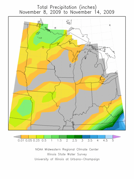 Total rainfall, November 7-14, 2009.  Image courtesy of the Midwest Regional Climate Center.