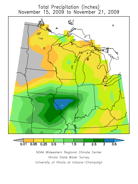 Rainfall from November 15-21st.  Image courtesy of the Midwest Regional Climate Center.