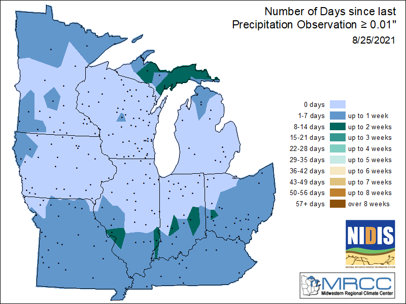 Number Days Without Measurable Precipitation