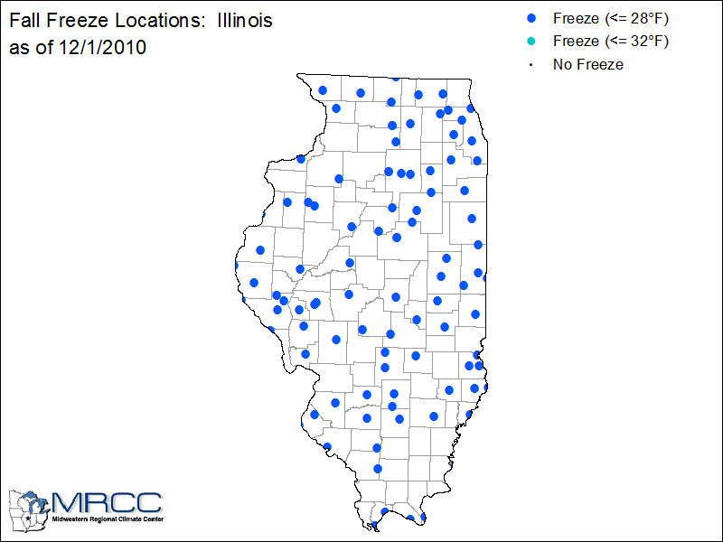 Locations that have experienced a freeze so far.  Image courtesy of the Midwestern Regional Climate Center.