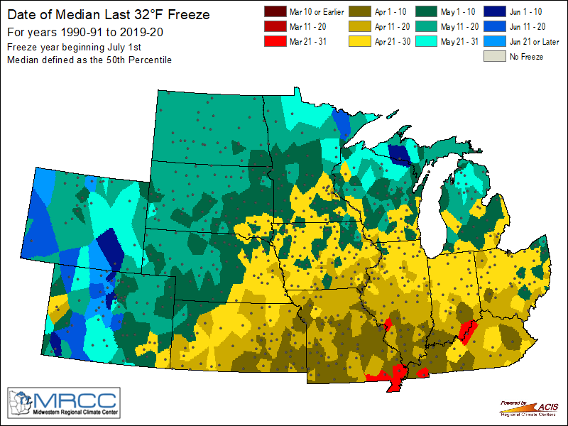 Median date of last 32 degree freeze