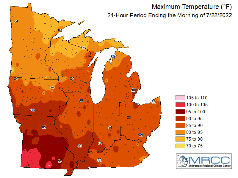 Midwest Maximum Temperatures