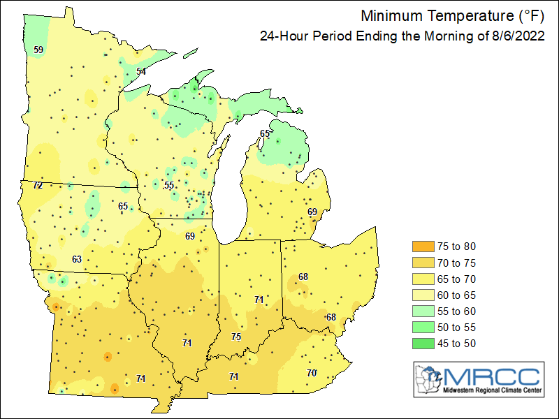 Midwest Minimum Temperatures