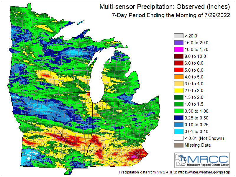 Precipitation last 7 days, from the Midwestern Regional Climate Center