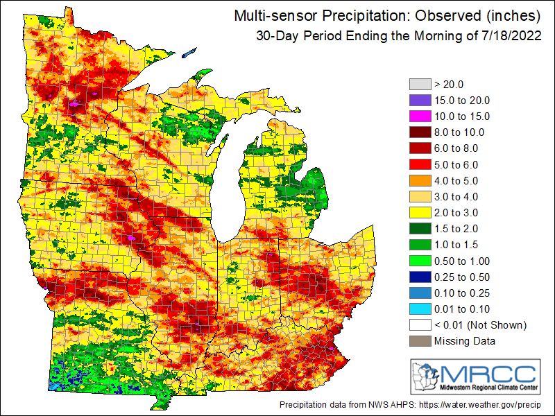 Precipitation last 30 days, from the Midwestern Regional Climate Center