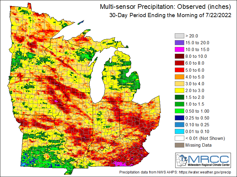 Multi-Sensor Precipitation Totals during the past 30 days