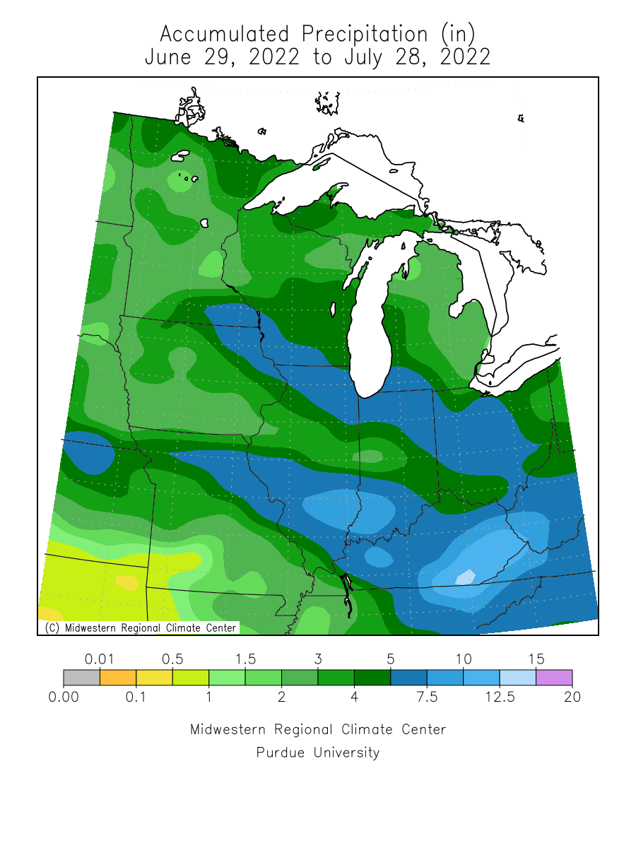 Map showing midwest last 30 day precipitation