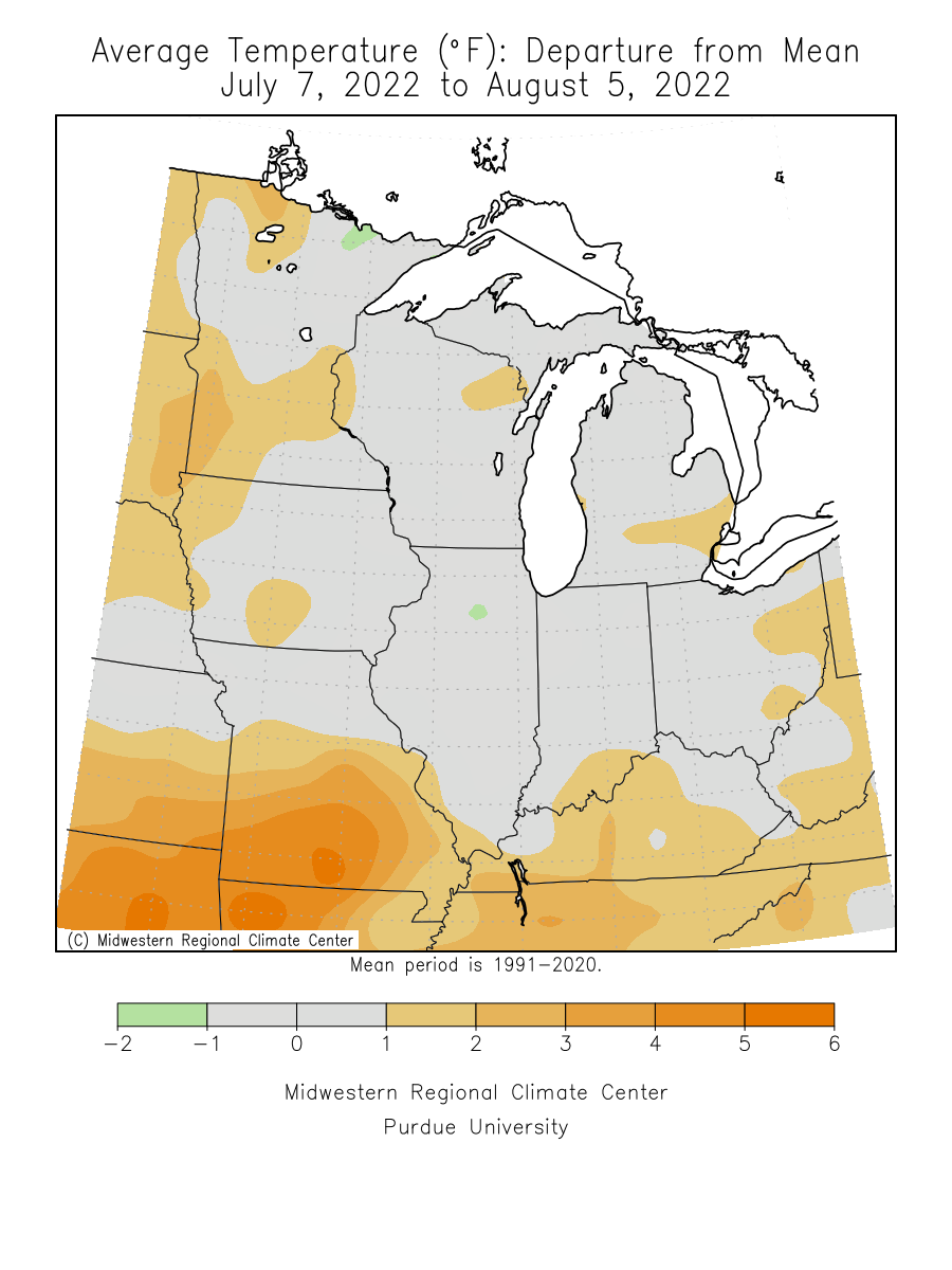 Map showing midwest last 30 day average temperature departure from normal