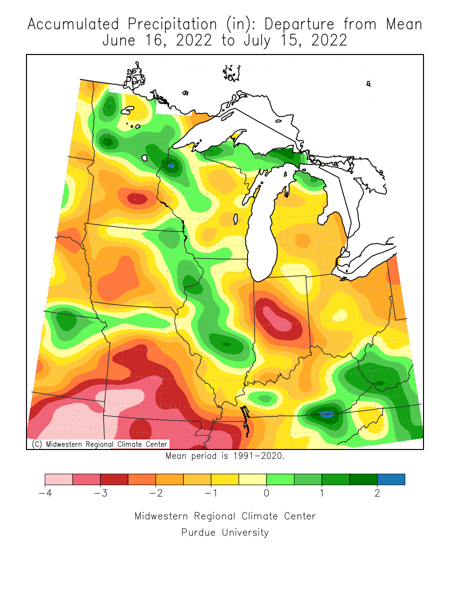 30-Day Precipitation Deficits from Normal