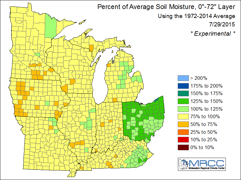 "Percent of Average Soil Moisture, 0""-72"" Layer"