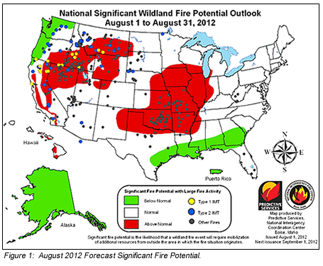 Figure 1: Aug 2012 Fire Potential Forecast