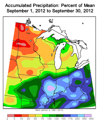 September Precipitation Percentage in the Midwest