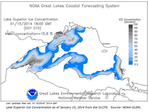 Lake Superior ice concentration as of 1/13/2014 from the Great Lakes ...