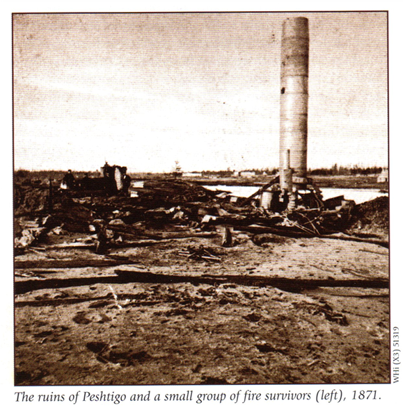 The ruins of Peshtigo and a small group of fire survivors, 1871