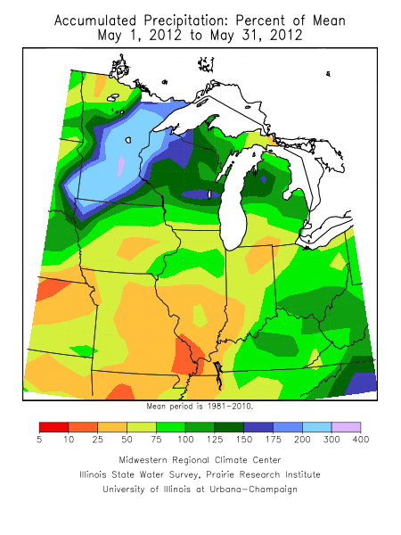 May 2012 Precipitation Percent of Mean