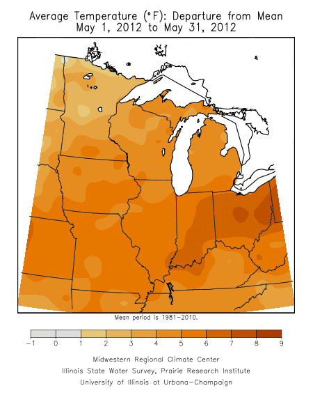 May 2012 Average Temperature Departure from Mean