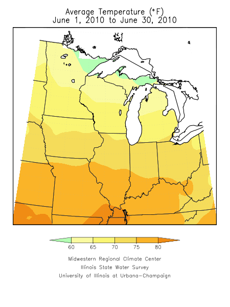 Average June temperatures.  Image courtesy of the Midwestern Regional Climate Center.