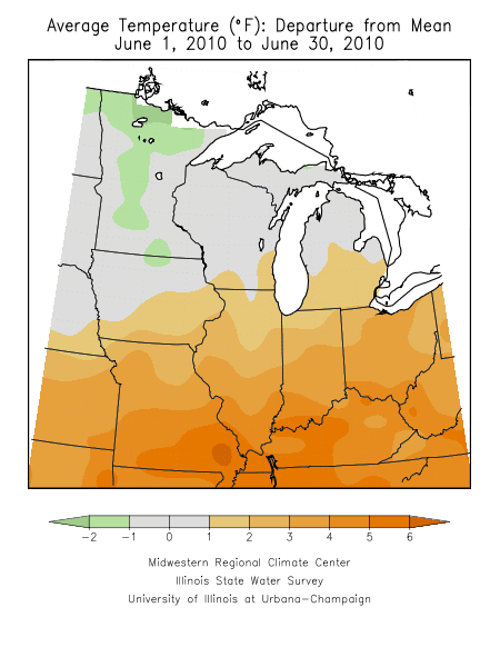 Average temperature departure from normal for June.  Image courtesy of the Midwestern Regional Climate Center.