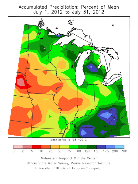 Percentage of July rainfall versus normal.  Image courtesy of Midwestern Regional Climate Center.