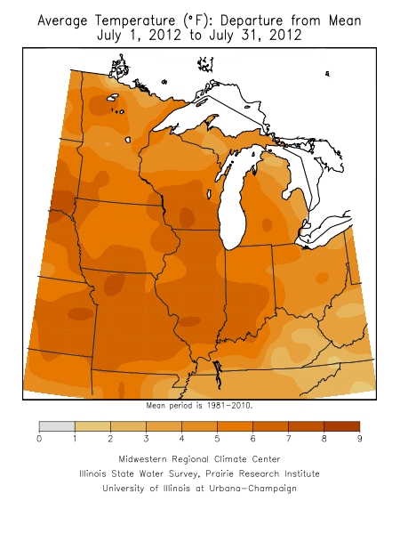 Departure from normal of July temperatures.  Image courtesy of Midwestern Regional Climate Center.