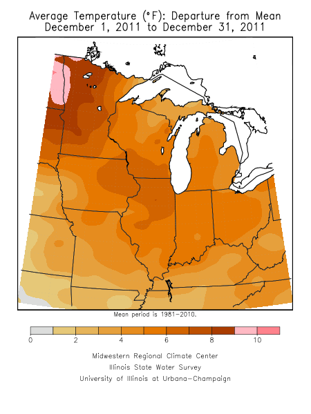 Average temperature departure from normal for December.