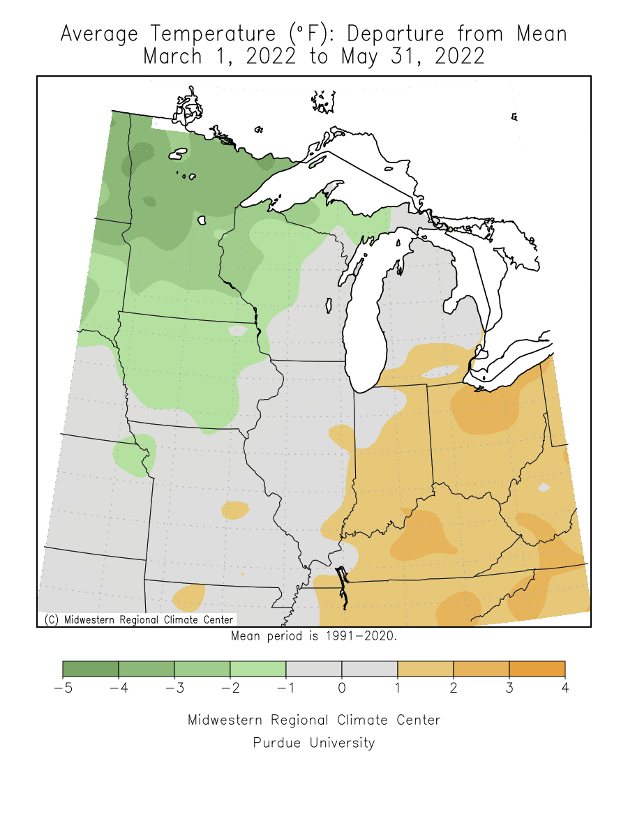 Spring 2012 Average Temperature Departure from Mean