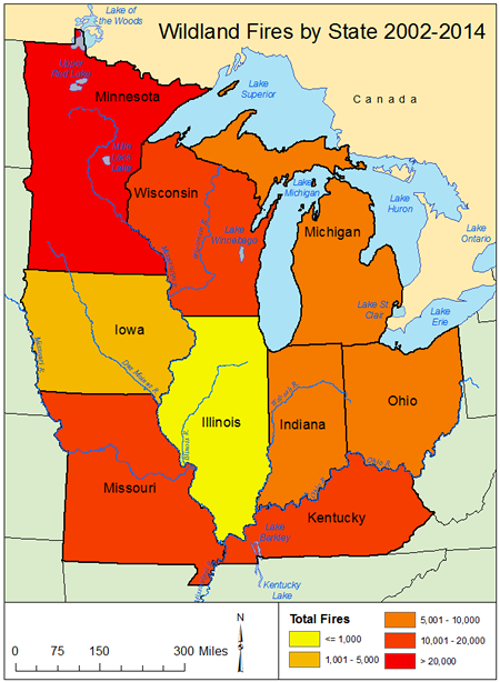total number of fires by state in the midwest midwest map